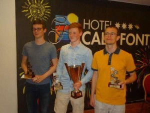 top 3 Salou Open 2015.  vlnr Roel Boomstra (2e) Jan Groenendijk (1) en Alexander Georgiev (3e)